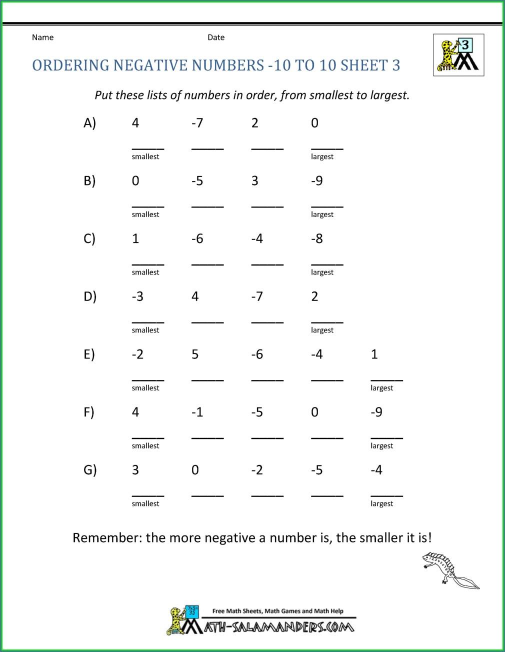 Negative Number Worksheet Gcse