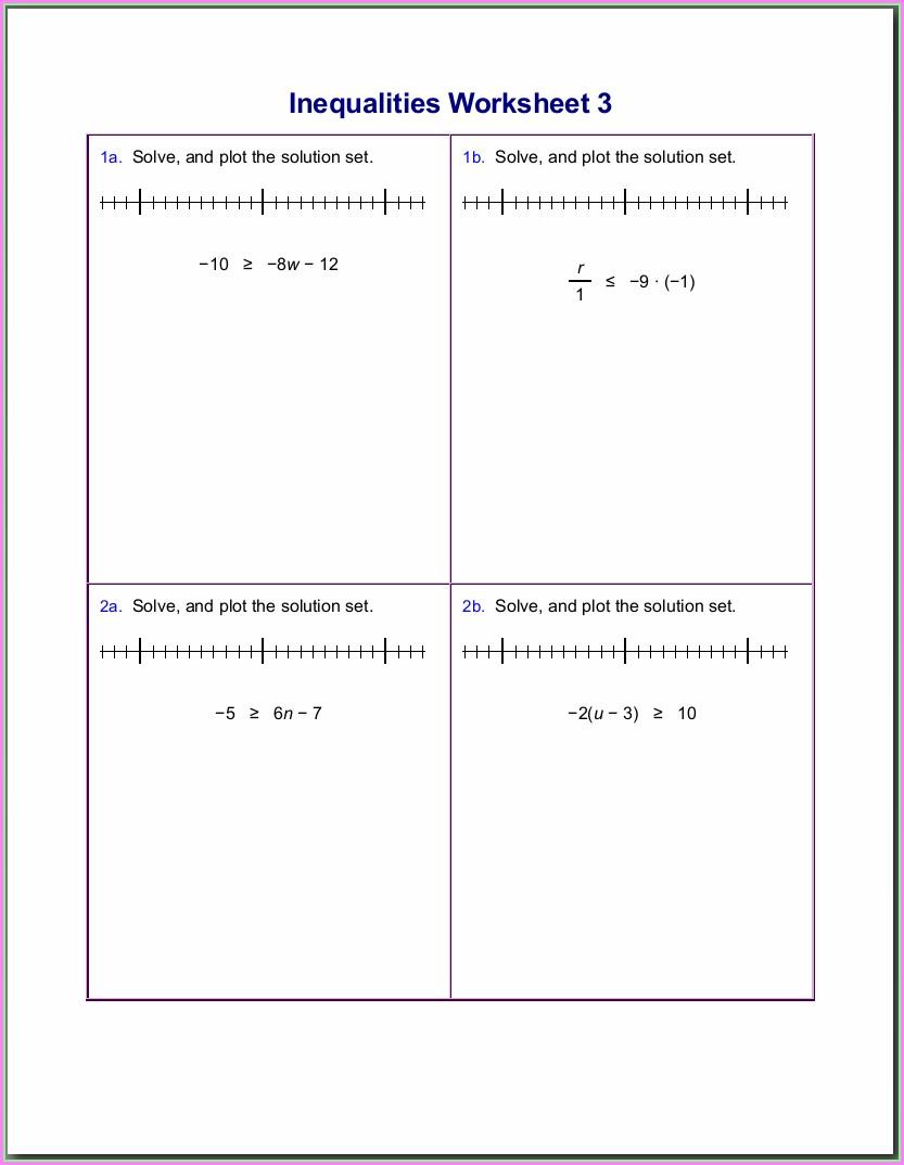 Negative Numbers Inequalities Worksheet