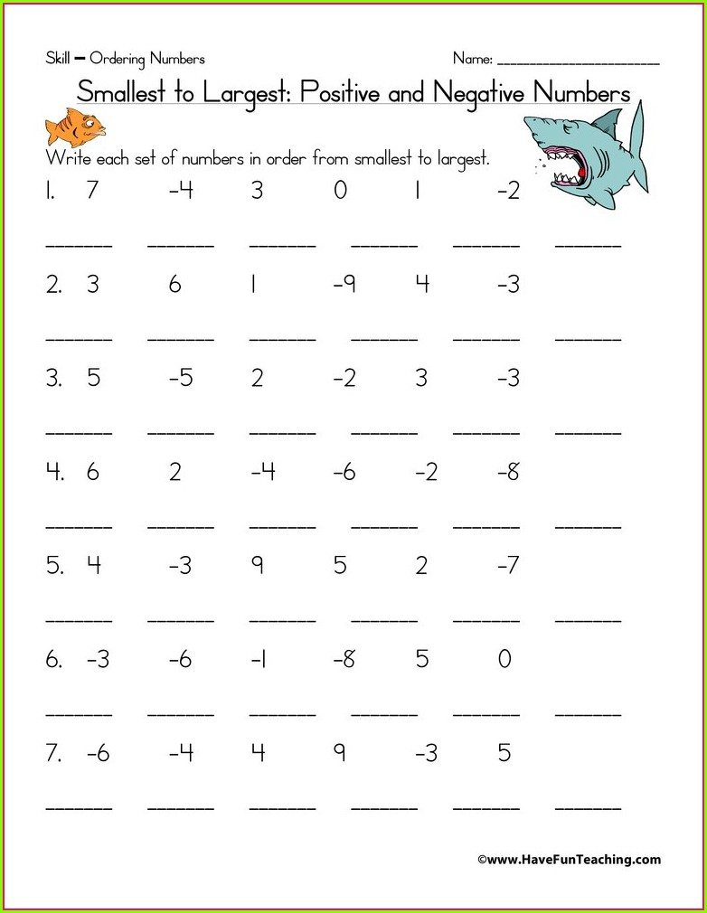 Negative Numbers Worksheet With Answers Pdf