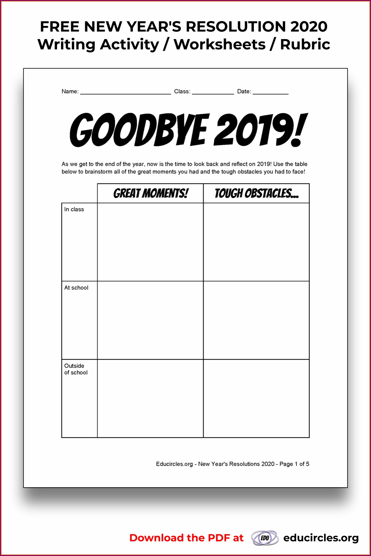 New Years Resolution Worksheet Second Grade