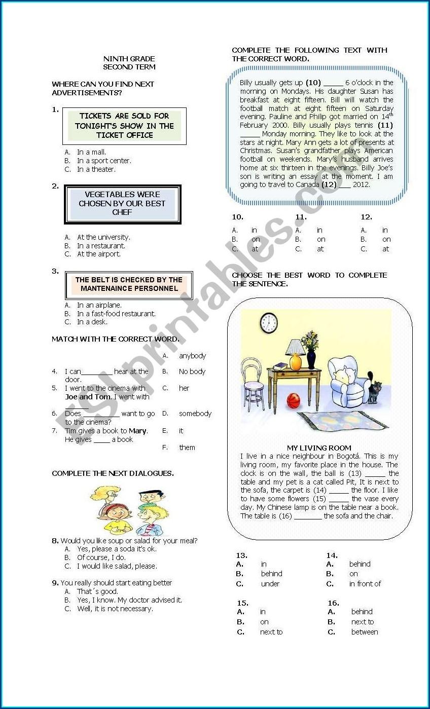 Ninth Grade English Worksheets