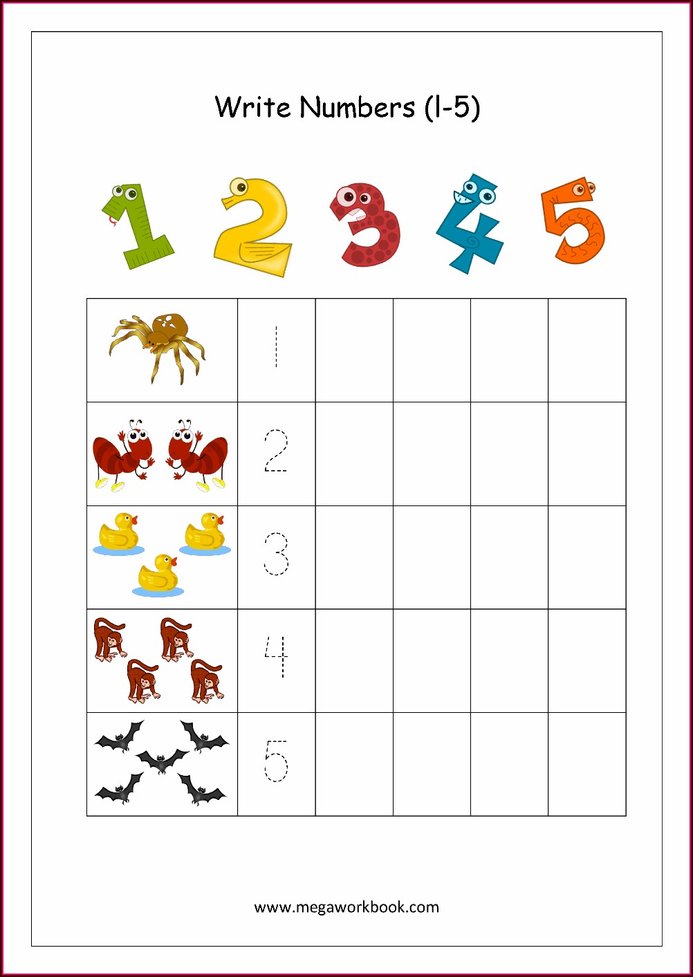 Number 1 To 5 Worksheets. Kindergarten