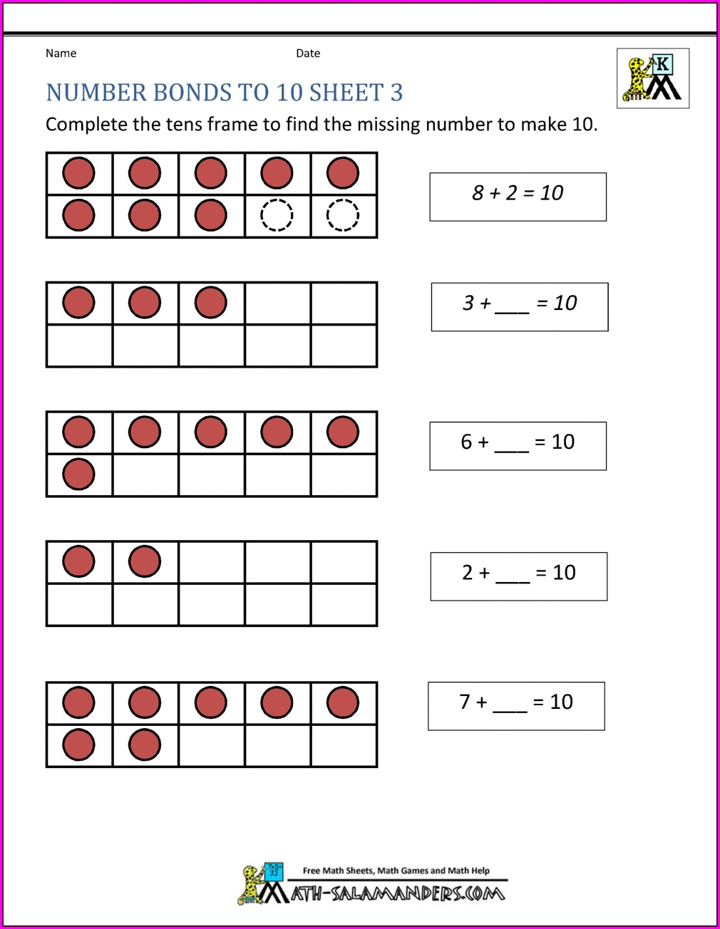 Number Bond Worksheets To 8