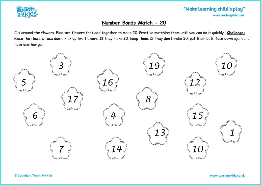 Number Bonds To 20 Matching Worksheet