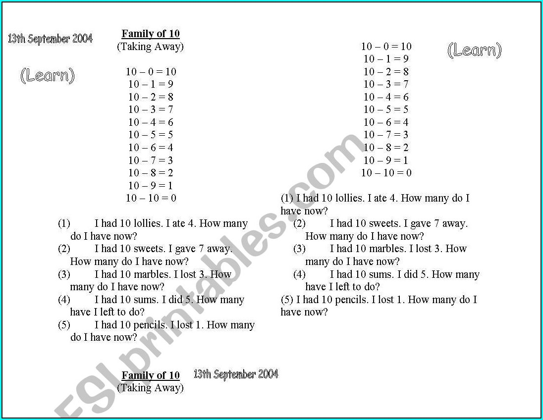 Number Bonds Worksheets To 10