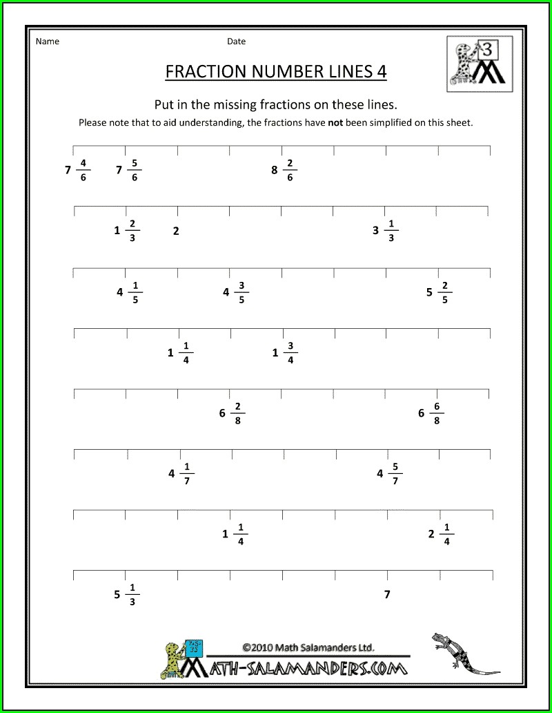 Number Line Decimals Worksheet