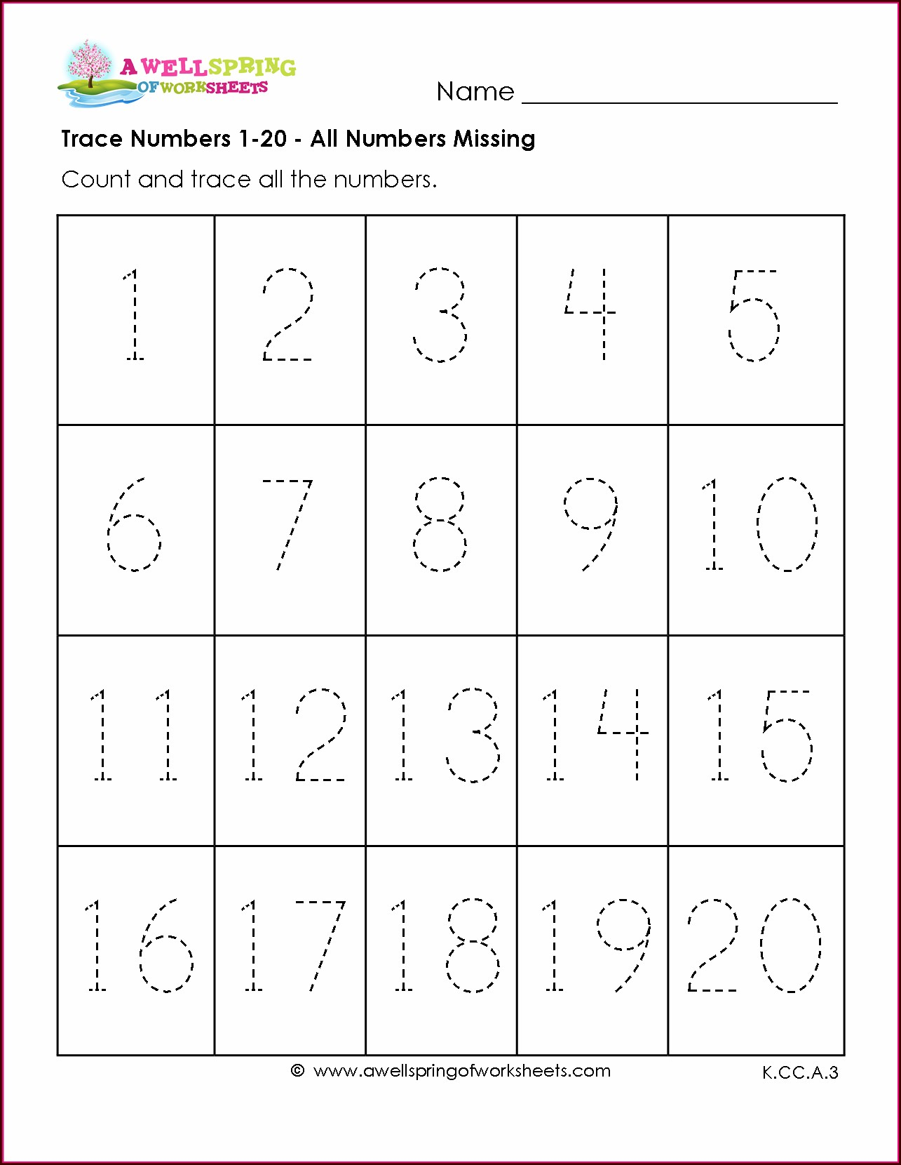 Number Tracing Worksheet 1 20
