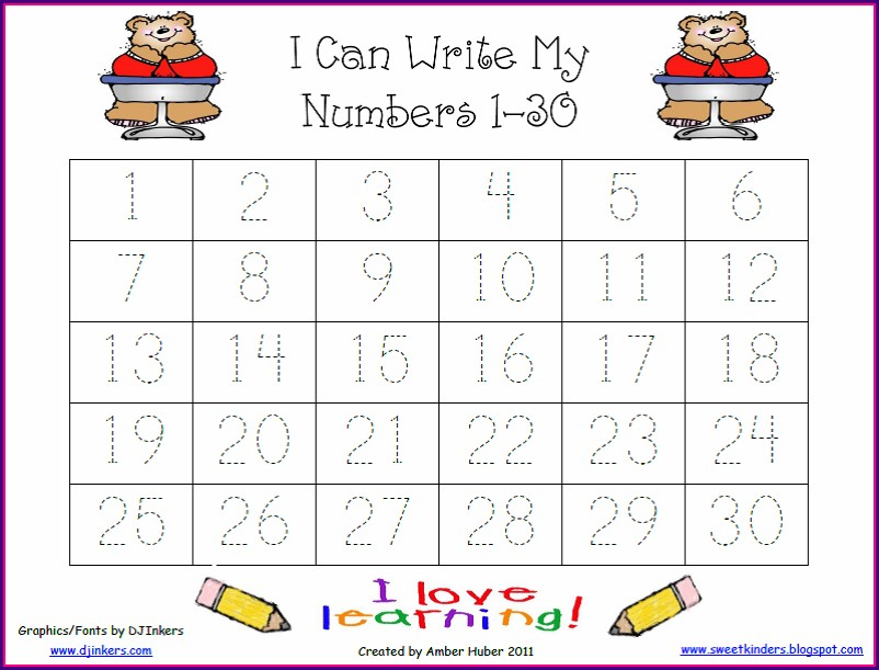 Number Tracing Worksheets 1 30 Pdf