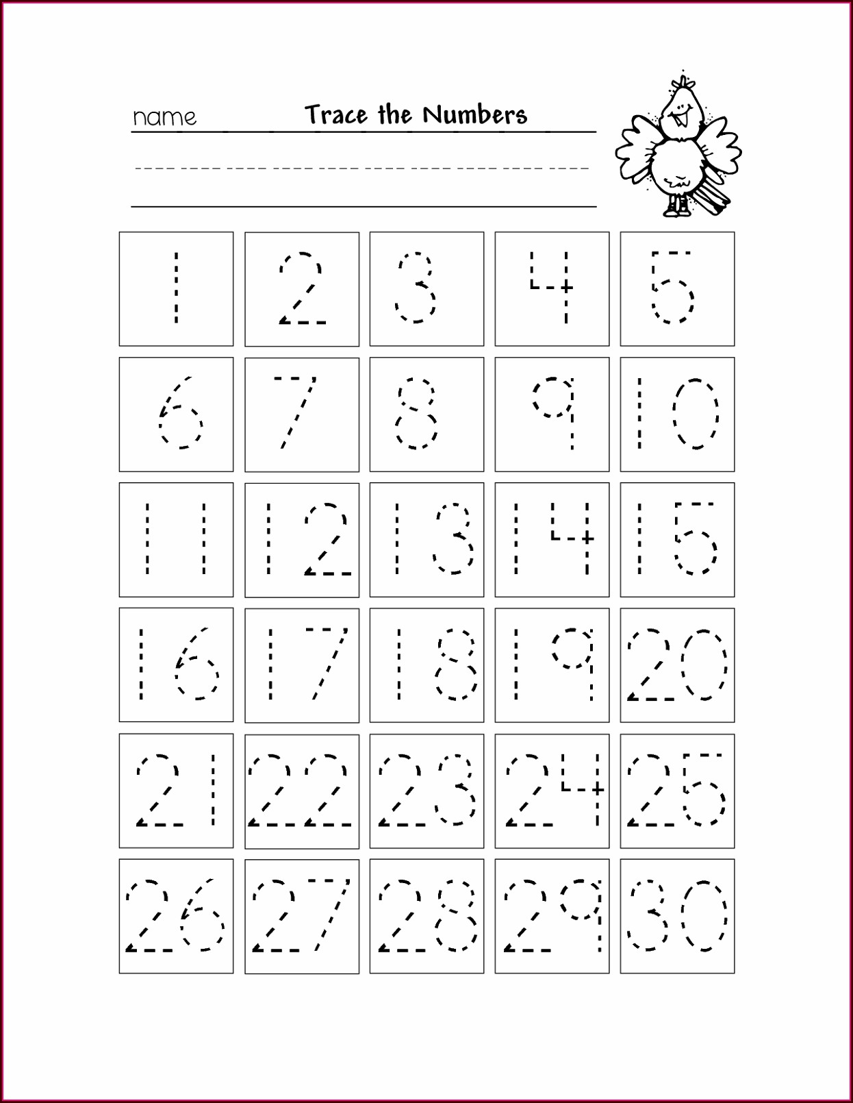 Number Tracing Worksheets 1 50 Pdf