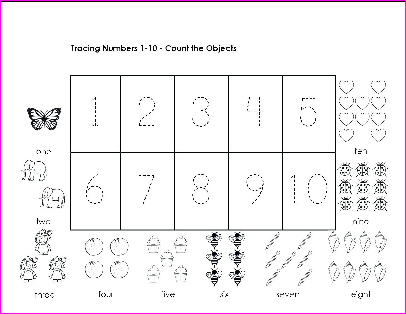 Number Tracing Worksheets 1 50