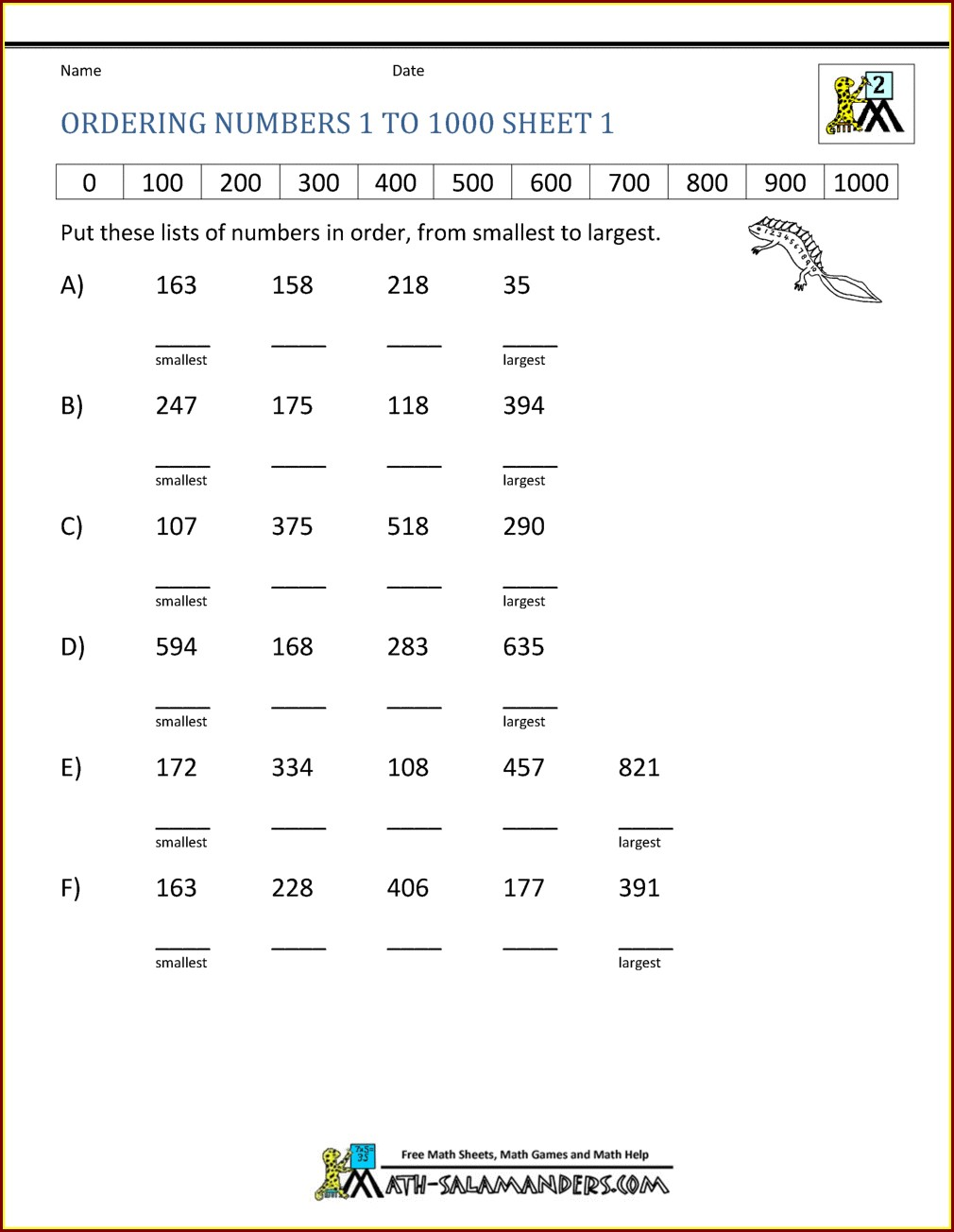Numbers To 1000 Worksheet Pdf