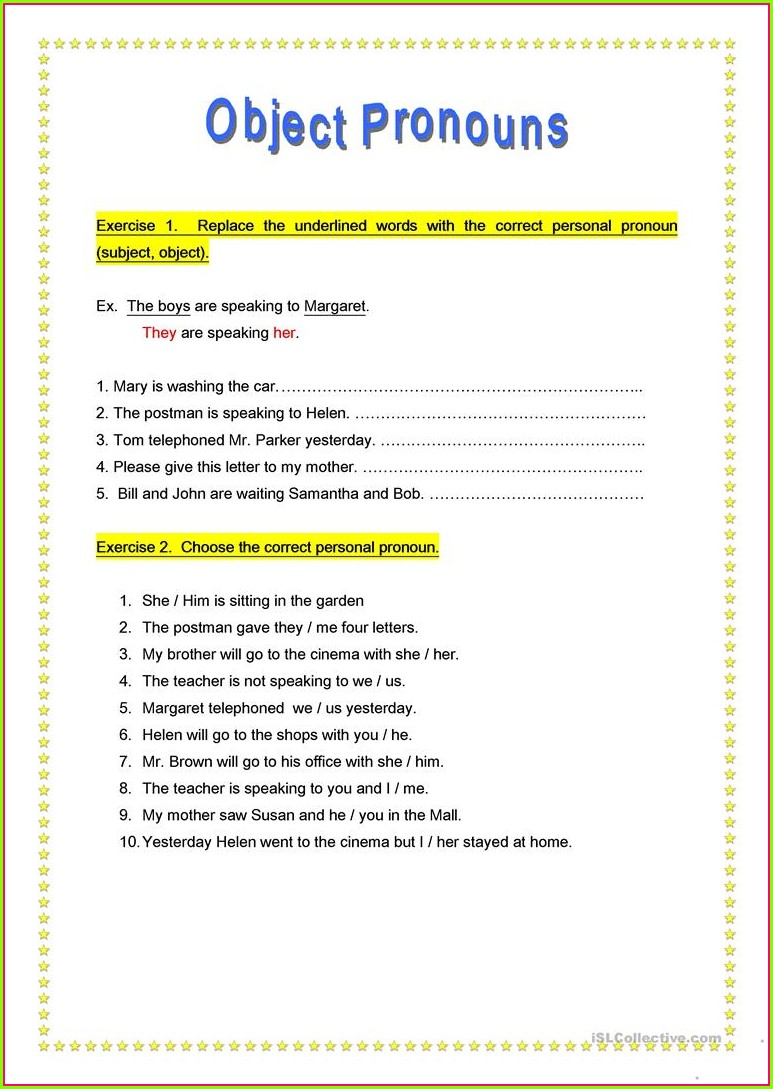 Object Pronouns Worksheet For Grade 2 Pdf