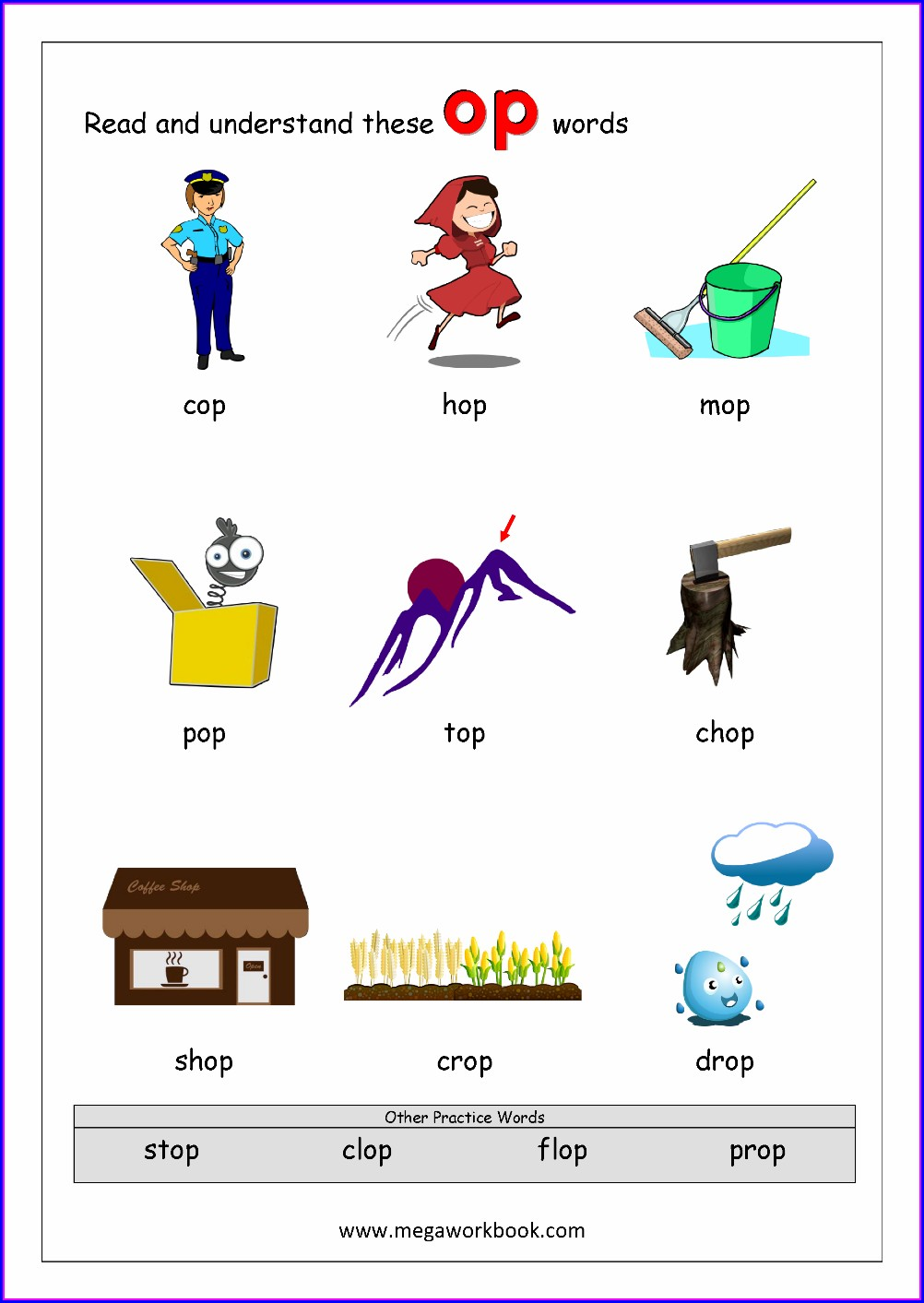 Op Word Family Worksheets Grade 1
