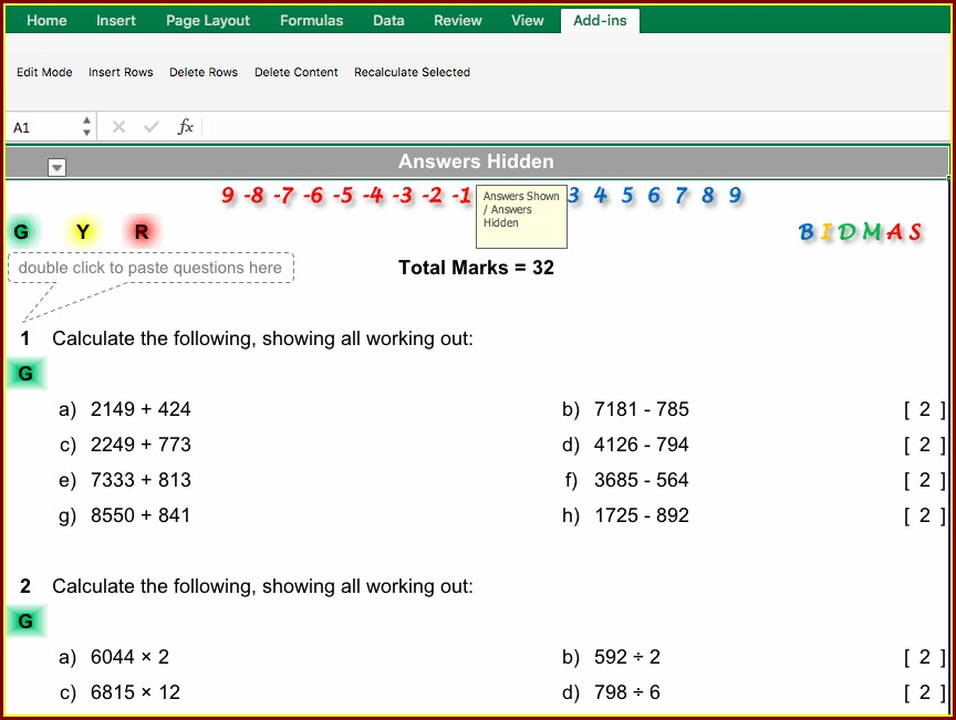 Operations With Whole Numbers Worksheet