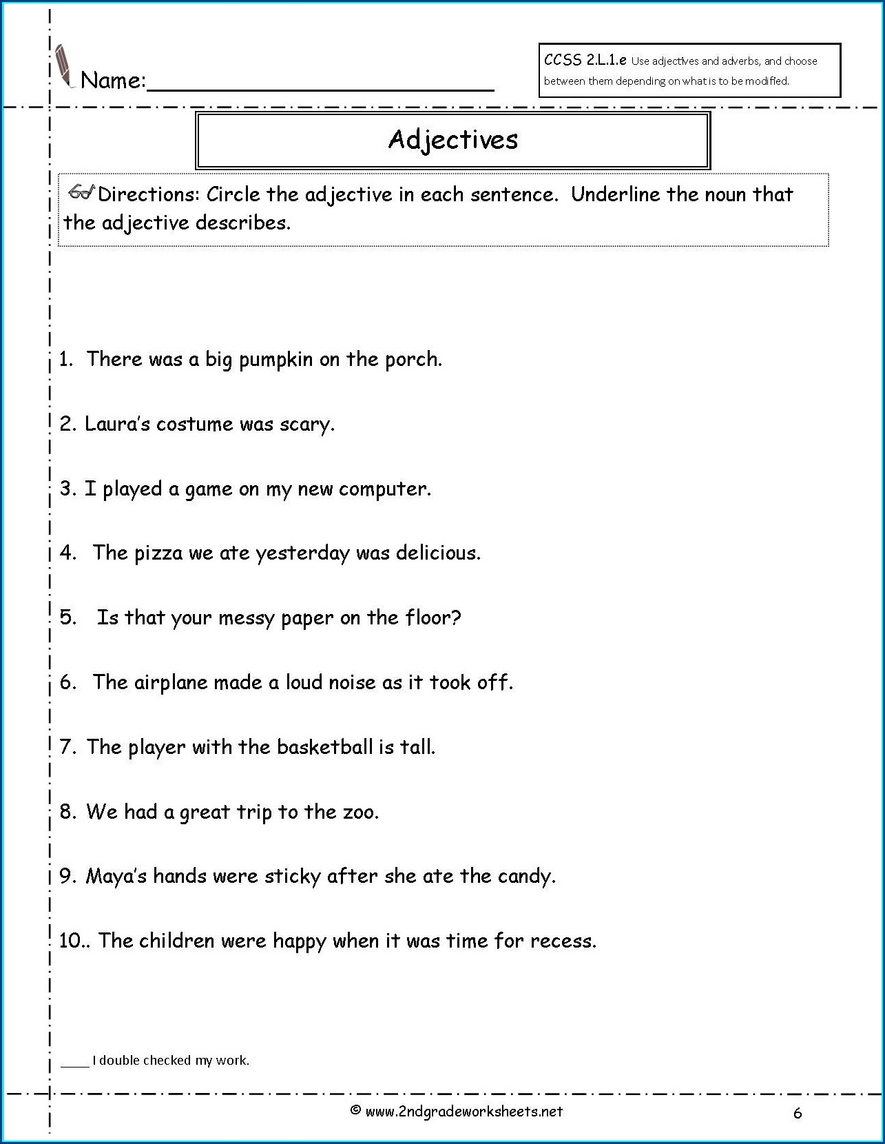Order Of Adjectives Worksheet Grade 2