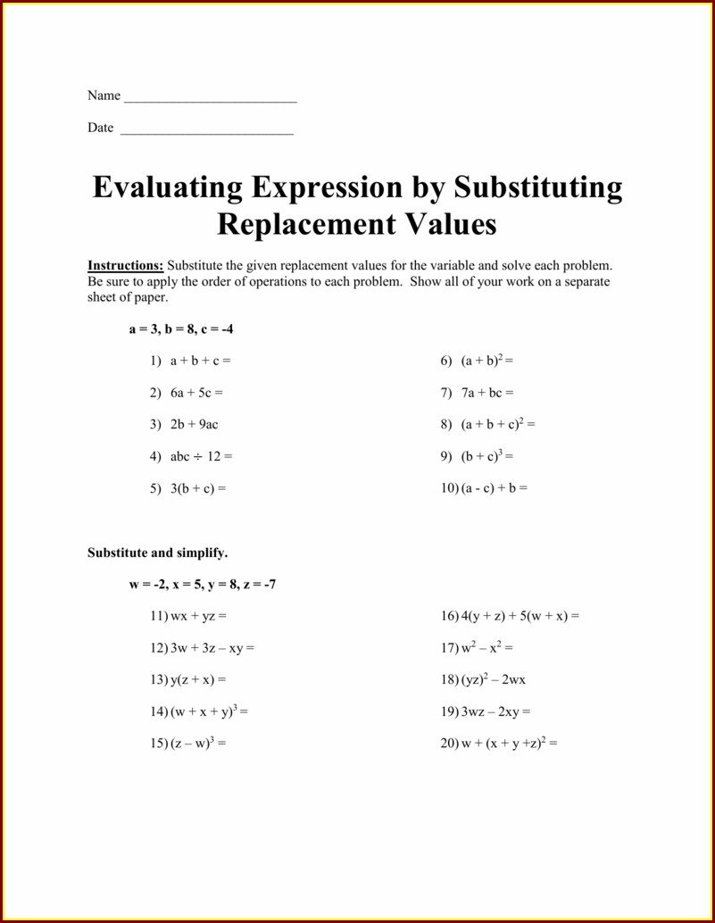 Order Of Operations And Substitution Worksheet