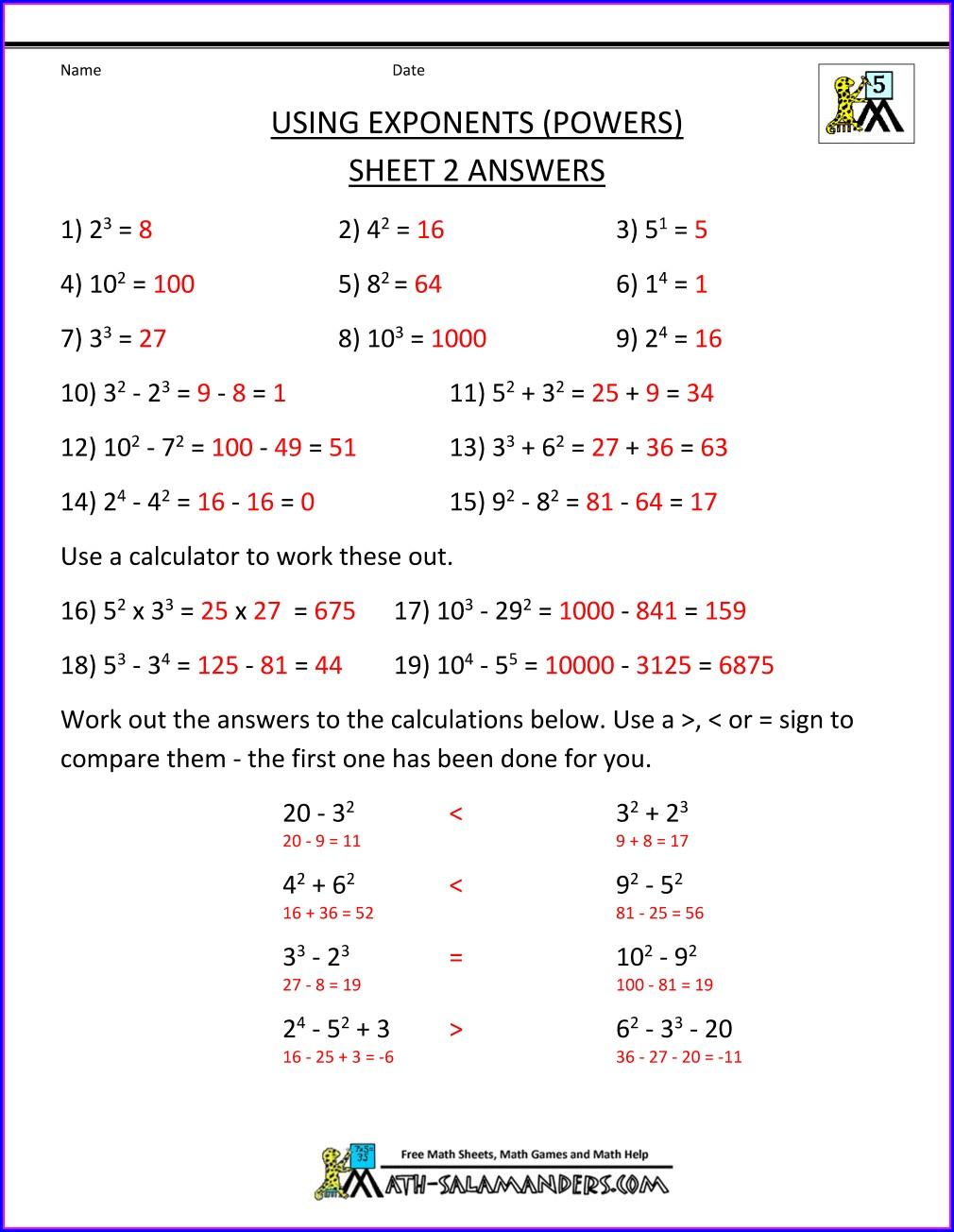 Order Of Operations Bodmas Worksheets