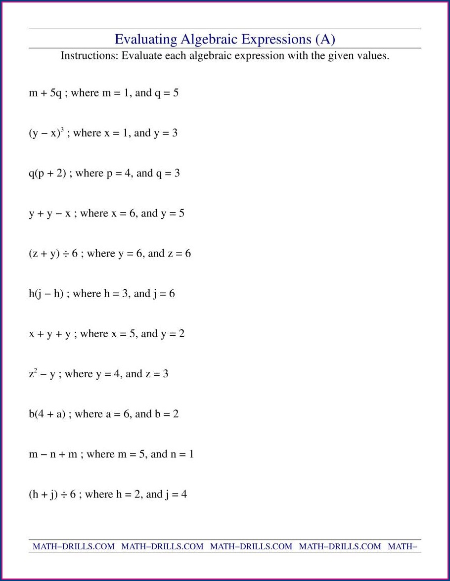 Order Of Operations Evaluating Expressions Worksheet