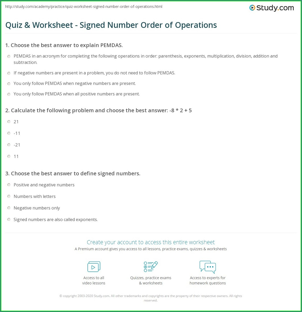 Order Of Operations Signed Numbers Worksheet