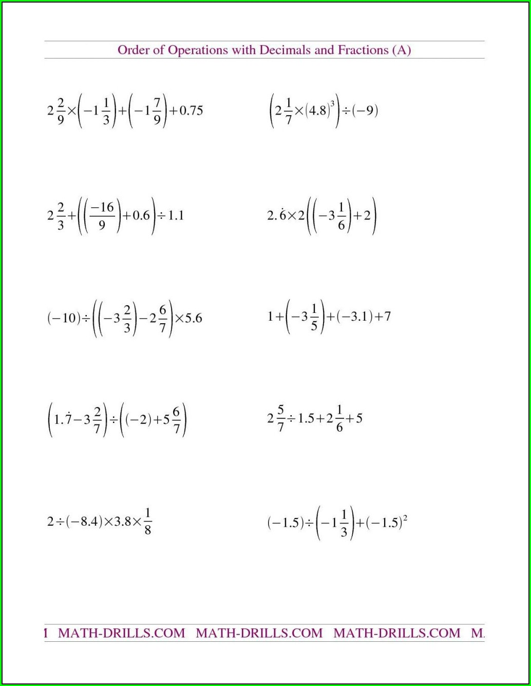 Order Of Operations Using Fractions Worksheet