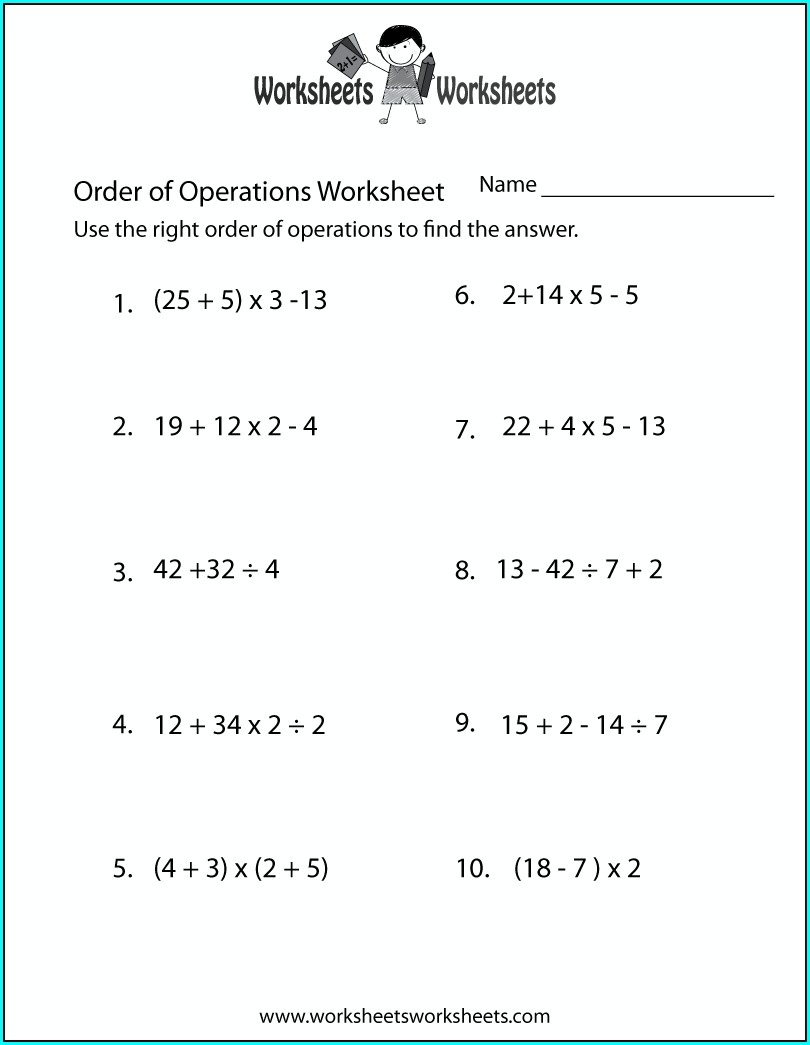 Order Of Operations With Decimals Worksheet Grade 7
