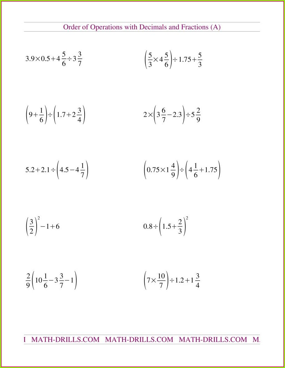 Order Of Operations With Fractions Worksheet With Answers