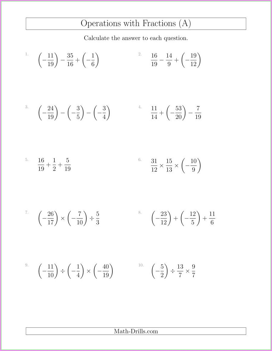 Order Of Operations With Fractions Worksheets