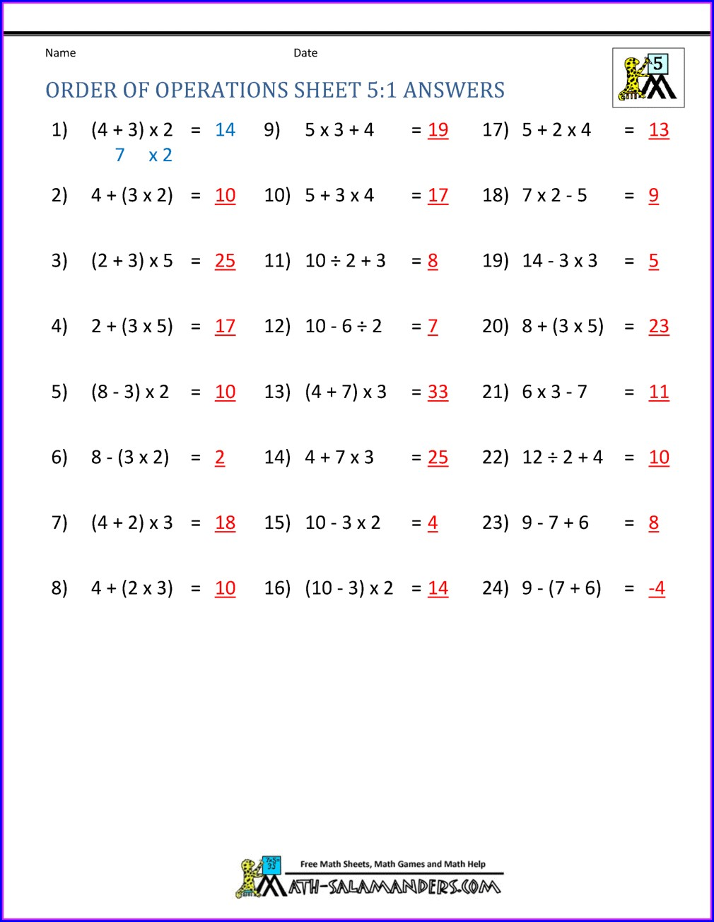 Order Of Operations With Integers Worksheet Kuta
