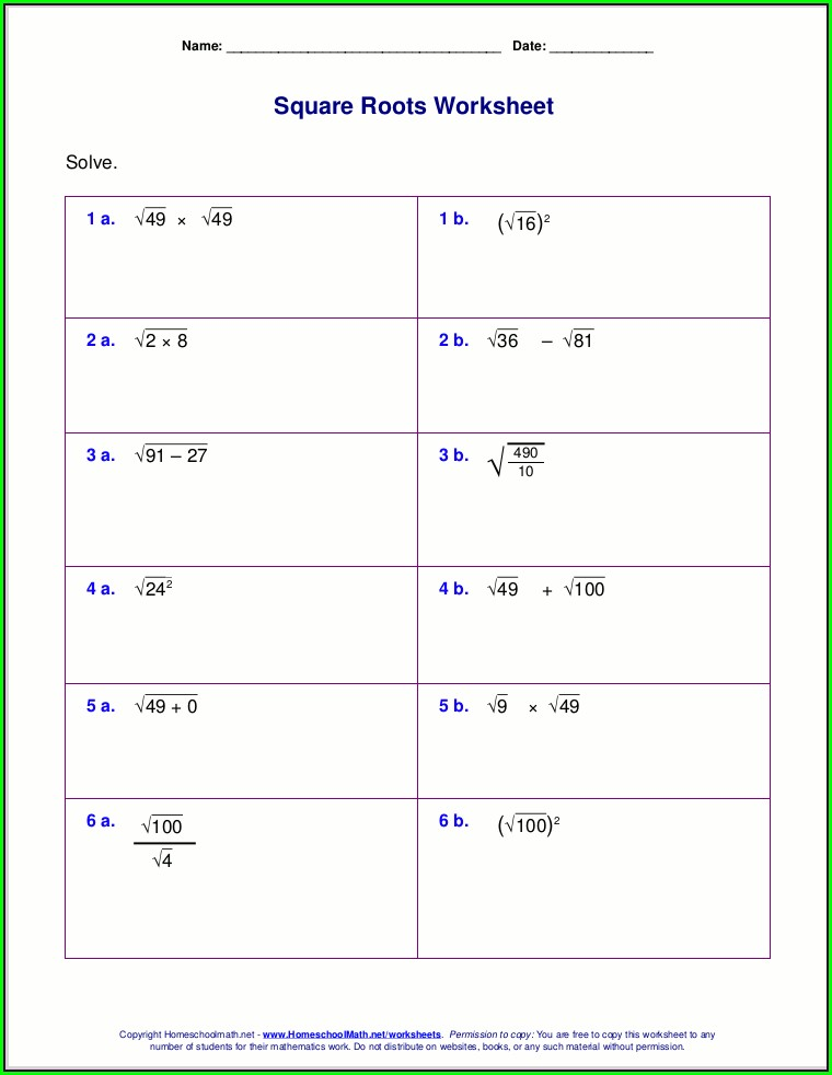Order Of Operations With Roots Worksheet