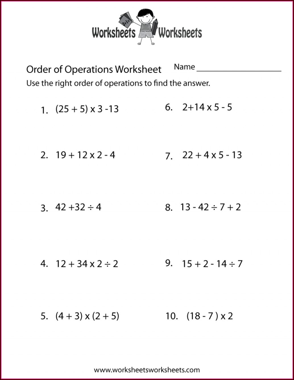 Order Of Operations Worksheet Math Drills