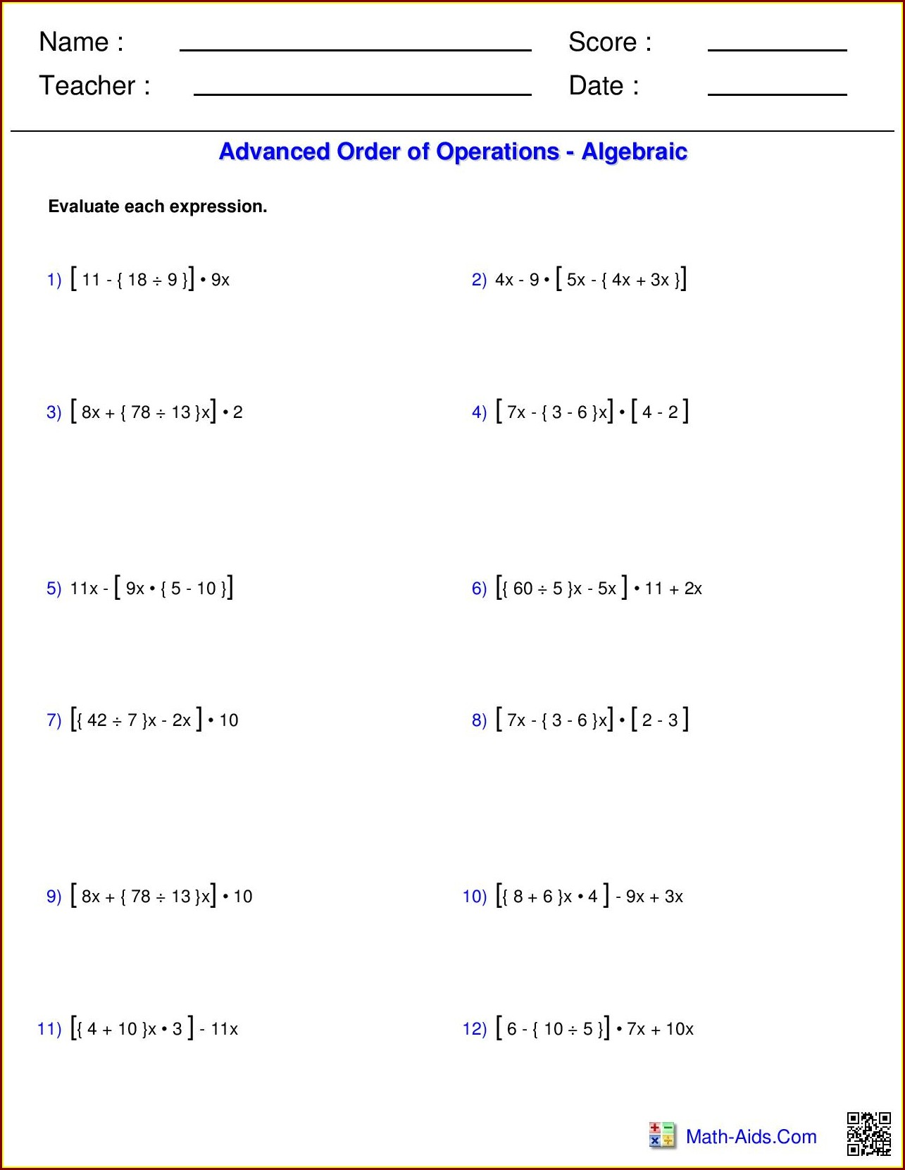 Order Of Operations Worksheet Pdf Easy