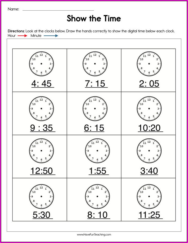 Ordering Clock Times Worksheet