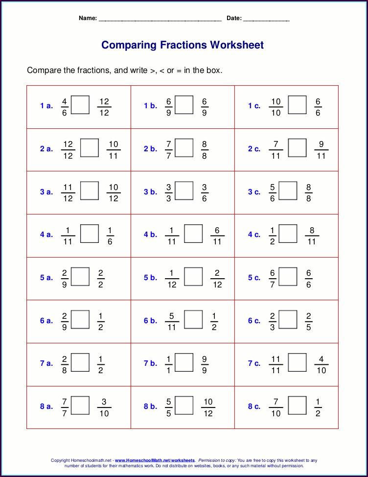 Ordering Mixed Numbers Worksheet Pdf