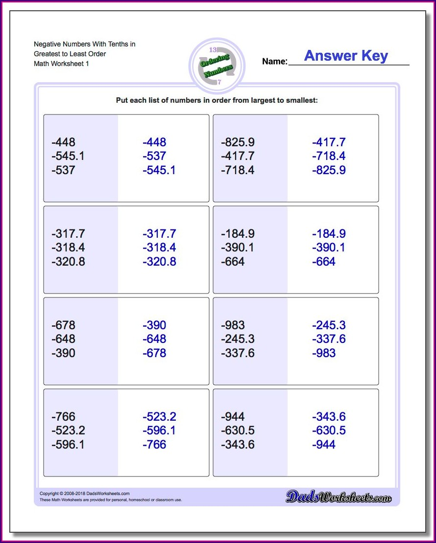 Ordering Non Sequential Numbers Worksheet