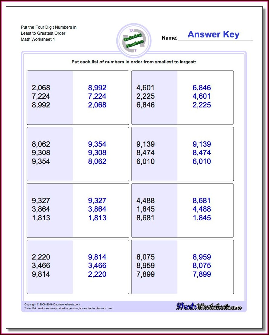 Ordering Numbers Smallest Largest Worksheets