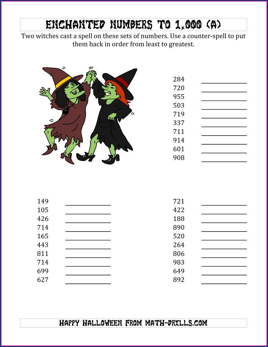 Ordering Numbers To 1000 Worksheet