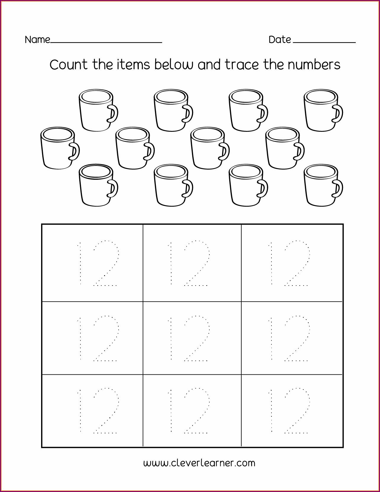 Ordering Numbers To 12 Worksheet