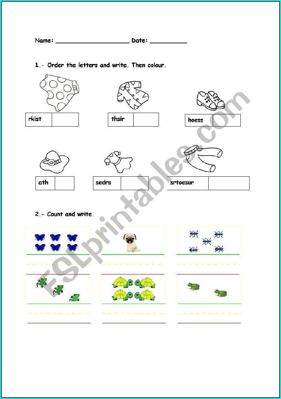 Ordering Numbers Washing Line Worksheet