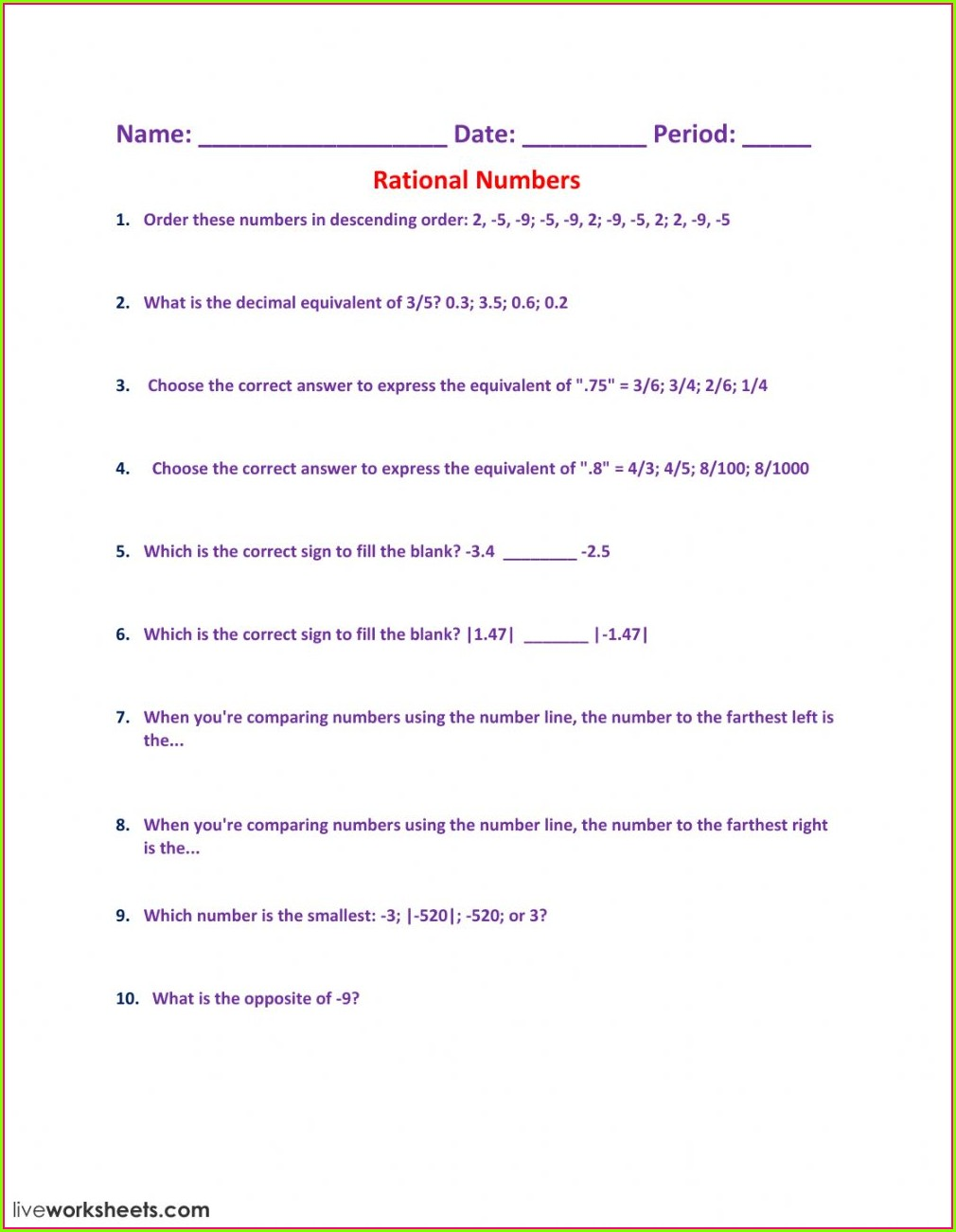 Ordering Rational Numbers On A Number Line Worksheet