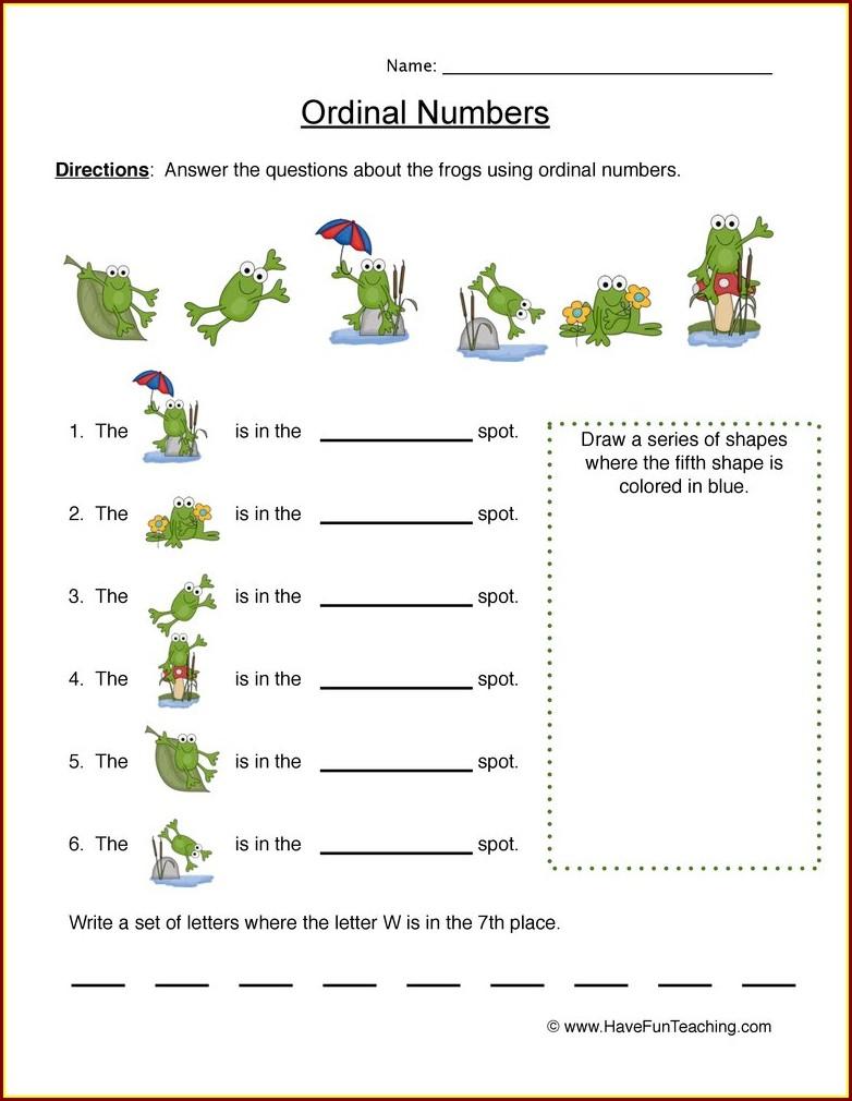 Ordinal Number Worksheet For Grade 3