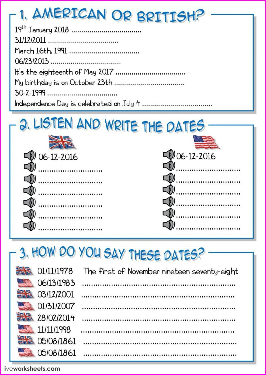 Ordinal Numbers Date Exercises