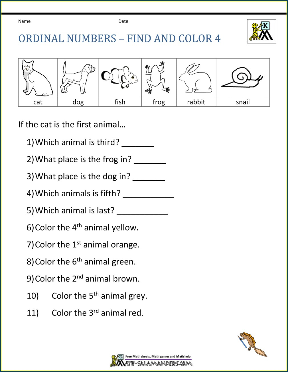 Ordinal Numbers Puzzle Worksheet