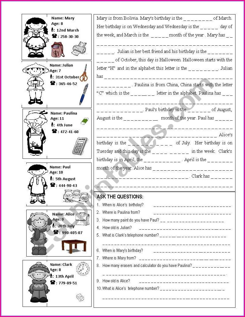 Ordinal Numbers Worksheet Esl