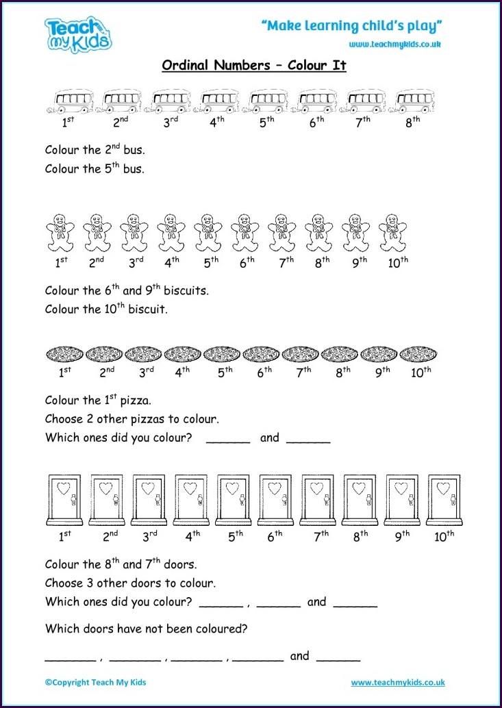 Ordinal Numbers Worksheet Ks2