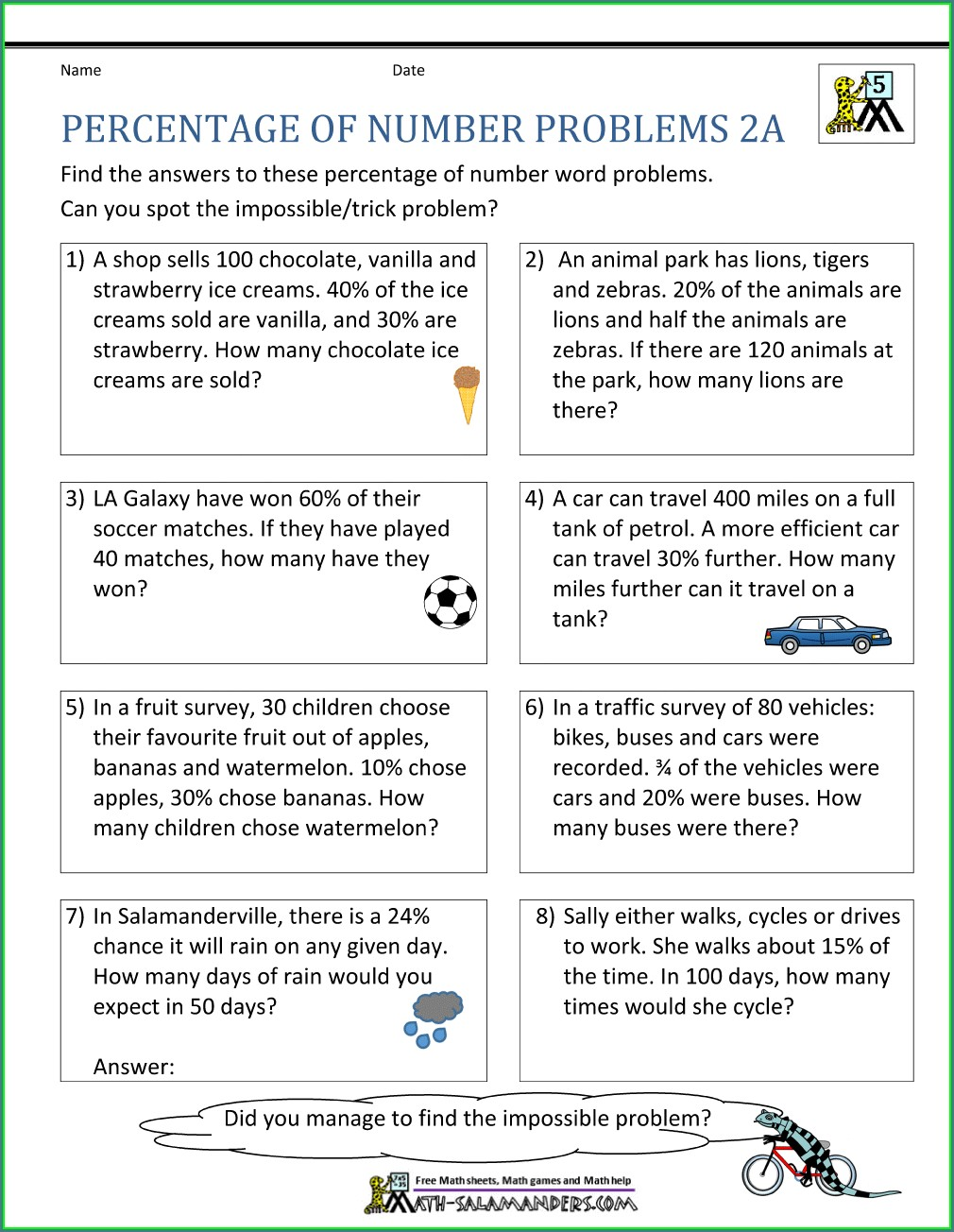Percent Word Problems Worksheet Answer Key