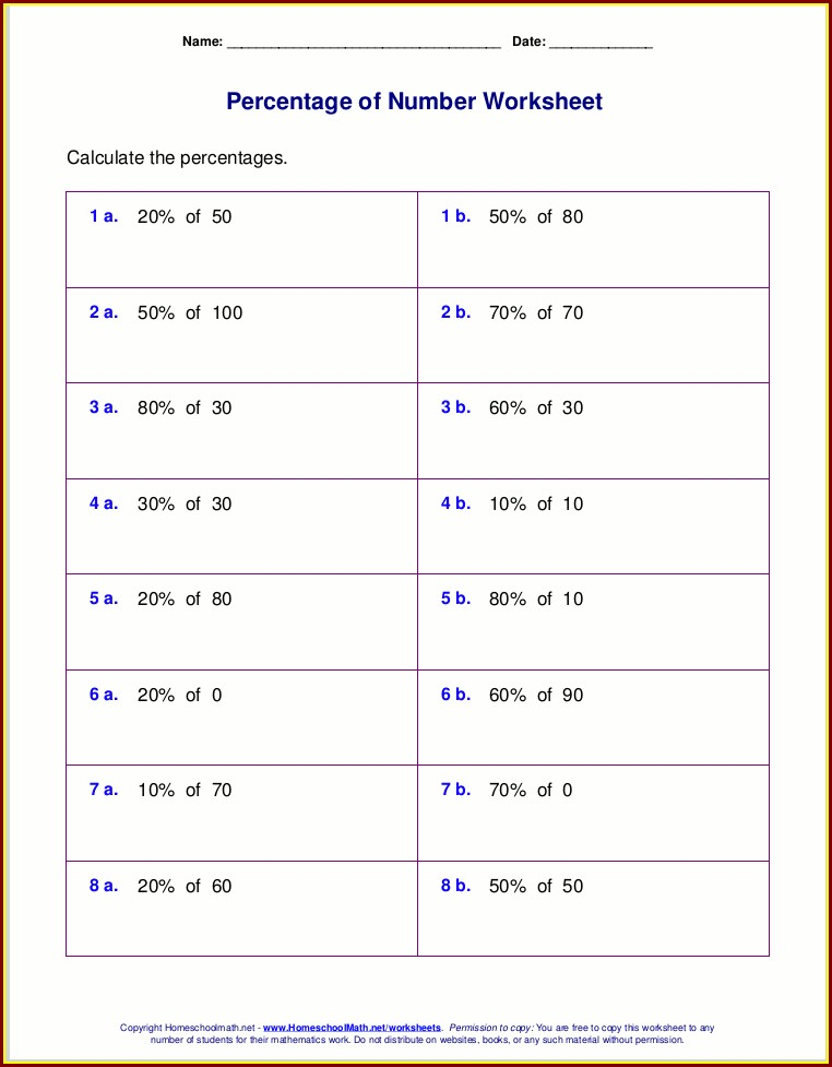 Percentage Worksheets For Grade 5 Pdf