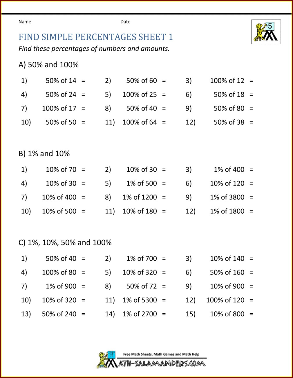Percentage Worksheets For Grade 5 With Answers