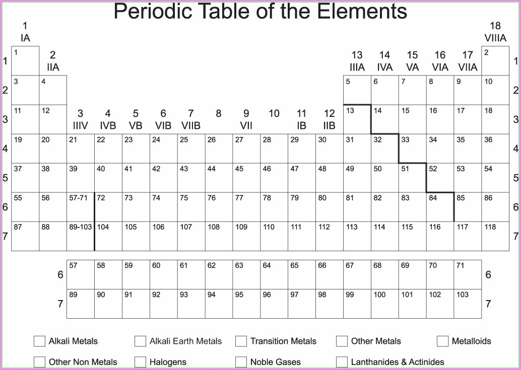 Periodic Table Of Elements Blank Worksheet