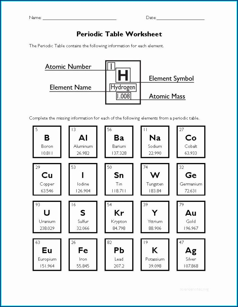 Periodic Table Puzzle Worksheet Answer Key