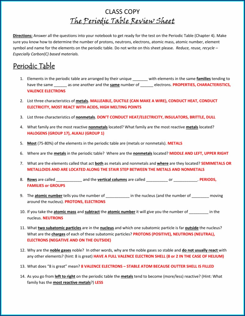 Periodic Table Review Worksheet Answer Key